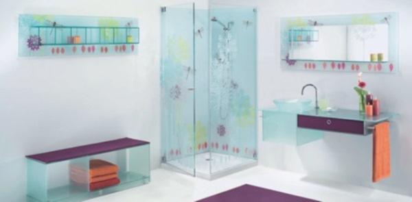 mobilier baie sticla colorata