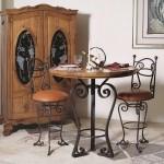 mobilier din lemn masiv si fier forjat bucatarie stil bistro parizian