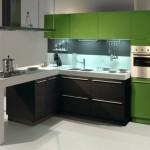 mobilier modern bucatarie culoare verde inchis