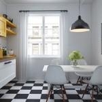 model 2019 amenajare bucatarie apartament mobila alb cu galben stil scandinav