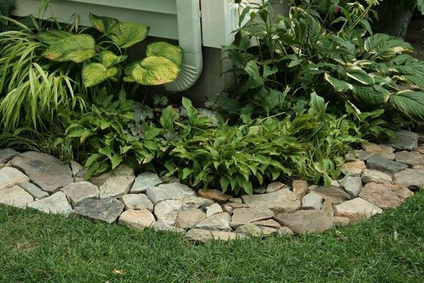 model bordura din piatra de rau delimitare rond gradina