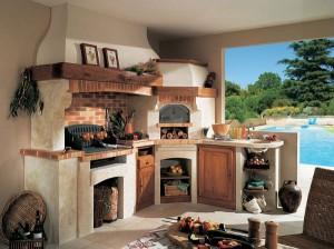 model bucatarie de vara rustica cu gratar si cuptor pe foc de lemne