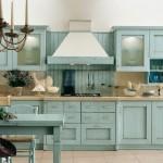 model bucatarie rustica mobila bleu din lemn masiv