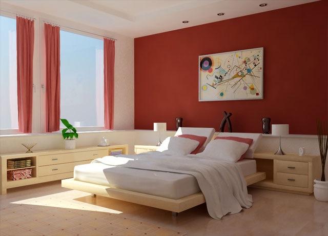 model dormitor decor rosu si crem