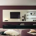 model mobila living modern comoda neagra lucioasa polite albe