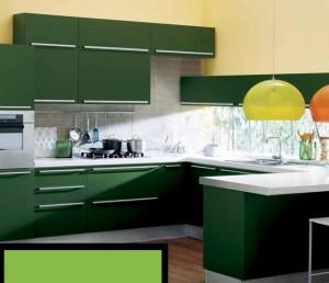 model mobila moderna bucatarie culoare verde inchis