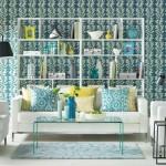 model tapet decorativ imprimeu strident alb albastru decor living