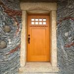 mozaic din piatra naturala de rau iluzie optica miscare decor perete usa intrare