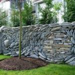 mozaic din piatra naturala decor gard