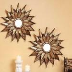 oglinzi decorative rame de cupru in forma de soare pentru living sau dormitor