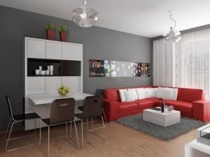 open space apartament mic pereti zugraviti in gri