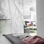 paravan despartitor usa glisanta sticla dormitor mic apartament modern 2 camere