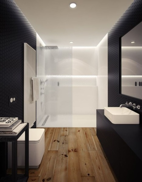pardoseala din lemn parchet impermeabil baie moderna amenajata in alb si negru