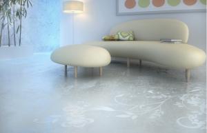pardoseala epoxidica imprimeu floral interior living modern