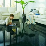 pardoseala epoxidica neagra interior living modern