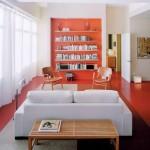 pardoseala epoxidica portocalie interior living retro