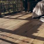 pardoseala lemn interior cabana cu fatada din ferestre reciclate