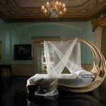 pat cu baldachin enignum design modern din lemn masiv