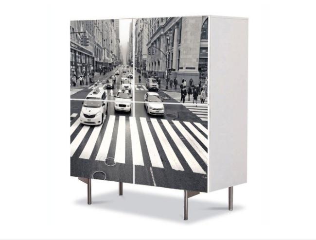 peisaj urban trecere pietoni New York comoda Art Work cu 4 usi