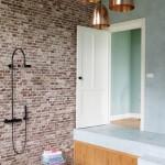 perete caramida interior baie casa amenajata in stil eclectic