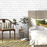 perete dormitor scandinav decorat cu caramida aparenta alba