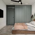 perete dressing gri cu tenta verde si accent cromatic roz pudra dormitor apartament modern