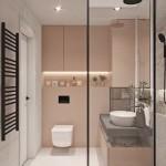 pereti de accent roz pudra amenajare baie mica apartament modern 69 mp