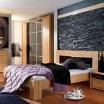 piatra decorativa neagra perete accent rustic dormitor modern