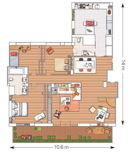 plan apartament modern