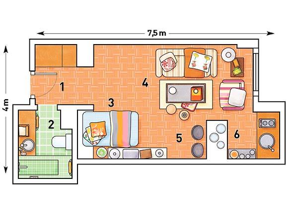 plan garsoniera 29 mp
