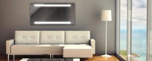 plasma electrica pentru incalzire montata pe peretele din living