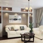 polite decorative fixe din gips carton construite pe peretele din spatele canapelei living modern