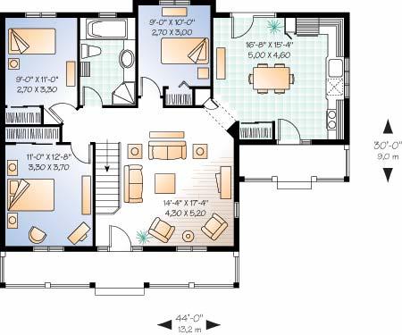 proiecte case doar cu parter, amprenta 100 mp :: CasaDex – case
