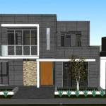 Proiect gratuit casa moderna parter si etaj, amprenta la sol 196 mp
