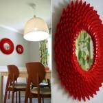 rama decorativa handmade pentru oglinda din linguri plastic unica folosinta