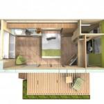 schita 3D proiect casa mica din container