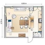 schita living si bucatarie open space apartament