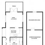 schita plan casa mica lemn cu mansarda amprenta 25 mp