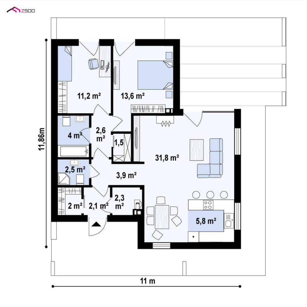 schita proiect casa 2 dormitoare 2 bai