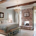 semineu placat cu caramida invechita decor dormitor eclectic