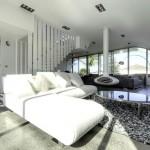 semineu suspendat culoare neagra interior living modern alb
