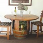 set masa si scaune din butoaie de vin reciclate