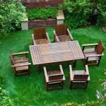 set masa si scaune din lemn pentru loc luat masa in gradina sau pe terasa