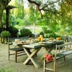 set masa si scaune din lemn stil toscan pentru curte terasa sau gradina