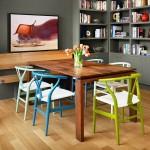 solutie asortare scaune multicolore decor bucatarie