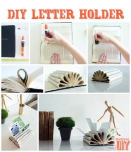 suport decorativ handmade pentru scrisori si plicuri dintr-o carte veche