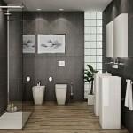 tablou decorativ decor baie moderna minimalista amenajata in alb si negru