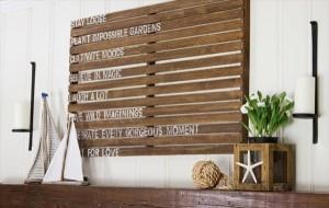 tablou decorativ realizat din palet lemn reciclat