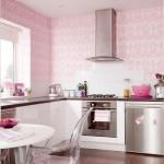 tapet decorativ din vinil cu imprimeu roz decor perete bucatarie moderna