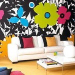 tapet decorativ imprimeu floral mare living modern colorat